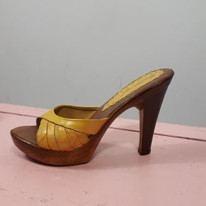 "Made in Brazil, 70""s Platform Clogs wooden Heels"